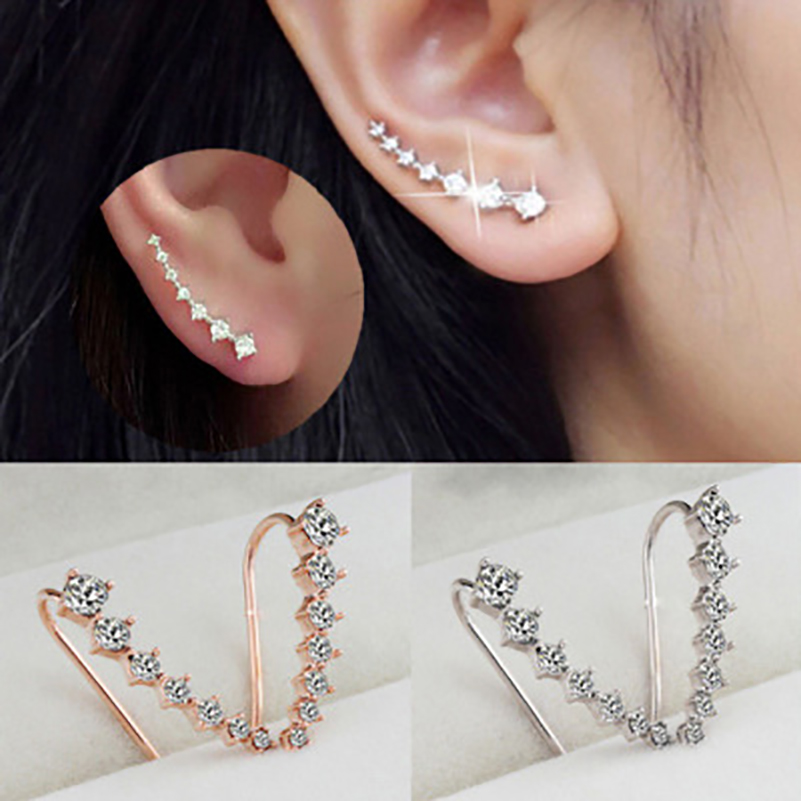 Clip Earrings Jewelry Ear-Hook Rose-Gold-Color Long Women for Four-Prong-Setting 7pcs