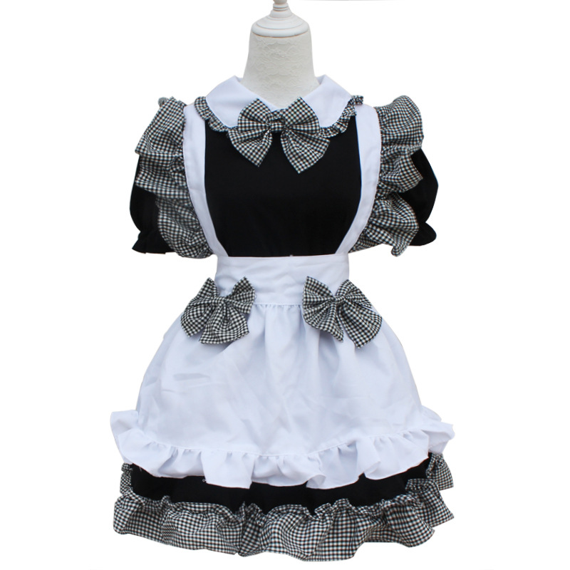Girl Maid Cosplay Dress Japanese Lolita Dress Summer Lace Princess Costume Dress Clothing Halloween Costumes Headpiece Apron