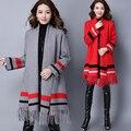 2017 ropa de las nuevas mujeres versión Coreana de las borlas larga sección de suelta de manga larga Chaqueta de punto abrigo