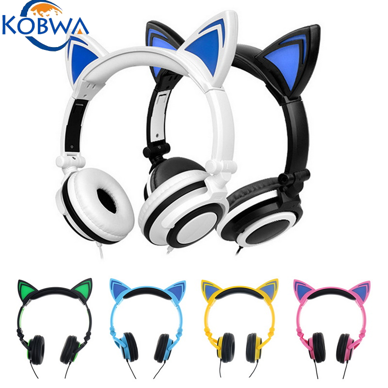 Fashionable & Newest Stereo Sound Cute Headphones LED Wired Cat Ear Headset Children Anime Gaming Earphone Glow In The Dark