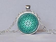 FLOWER OF LIFE Pendant Teal Green Aqua Spiritual Jewelry Inspirational Necklace Sacred Geometry Meditation Jewelry HZ1