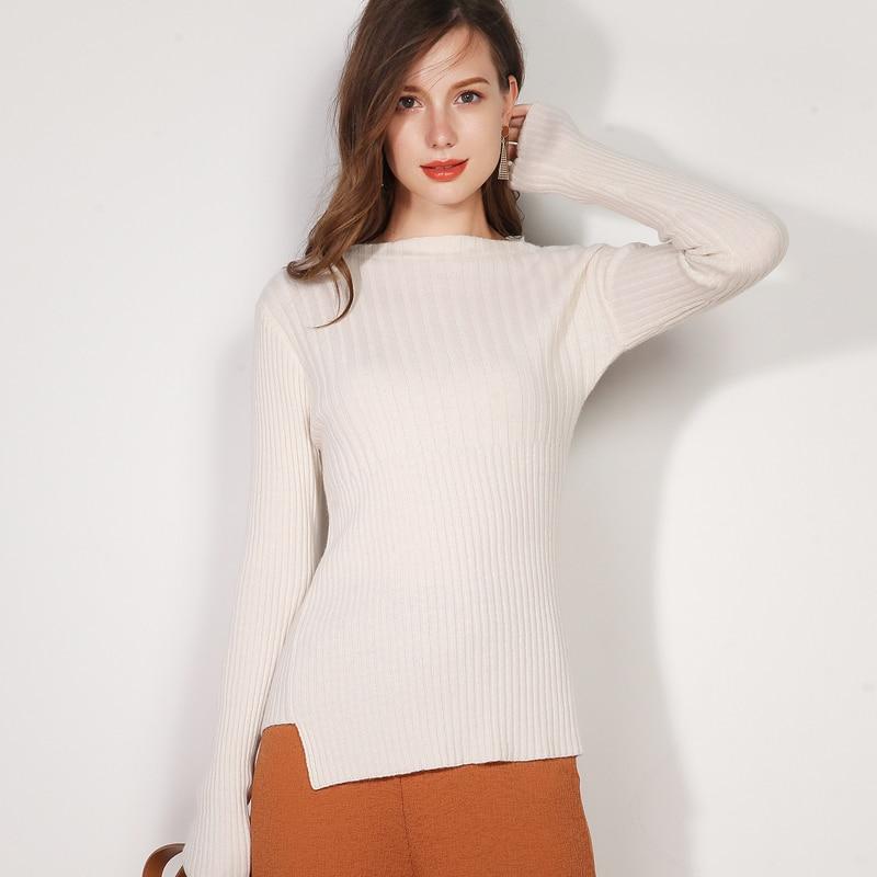 Cachemire Haute Pure Rayé Femmes Mince Et Pull cou Qualité Nouvelle White En O Mode Automne caramel Hiver qE5n7rqwOB