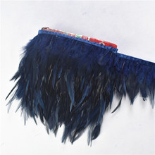 Wholesale 10 Meters/Lot Navy Pheasant Feathers Trim Fringe Chicken Rooster for Crafts Jewelry Wedding Decoration Plumes