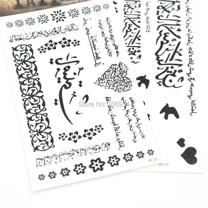 New Temporary Tattoos Sticker 10pcs/lot Arabic Tattoo Body Waterproof Arm Chest Tattoos RF