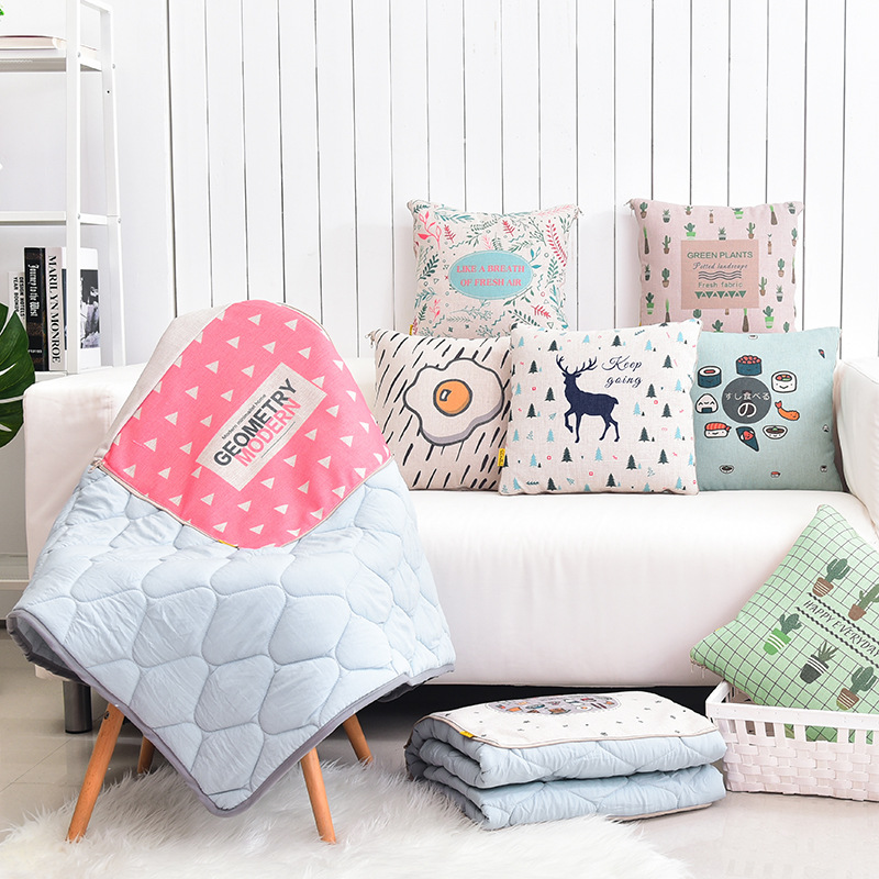 Small fresh thick cotton pillow quilt blankets Dual car small travel sofa quilt blankets 2 in 1 Cushion Blanket