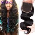 Fechamento do laço da onda do corpo preto natural Brasileiro Ali Moda Brasileira onda do corpo do cabelo virgem do cabelo humano fechamento onda do corpo Brasileiro