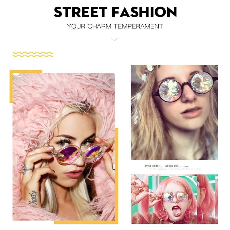 1898dec9da5b4 Iuooke 2018 New Fashion Round Retro Vintage Women Female Sunglasses  Psychedelic Kaleidoscope Night Club Cool Sun Glasses Party-in Sunglasses  from Apparel ...