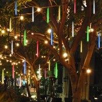 חיצוני LED שמש 10 אורות נטיף קרח אורות טיפת גשם שלג נופל מטאור מקלחת גשם צינור הגינה פאטיו קישוט מסיבת החג