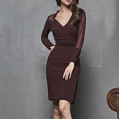Women's Clothing Dutiful Sexy V-neck Hollow-out Women Party Dress Ol Style Full Sleeve Female Pencil Dress 2018 Mid-length Workwear Dress Autumn Lj78
