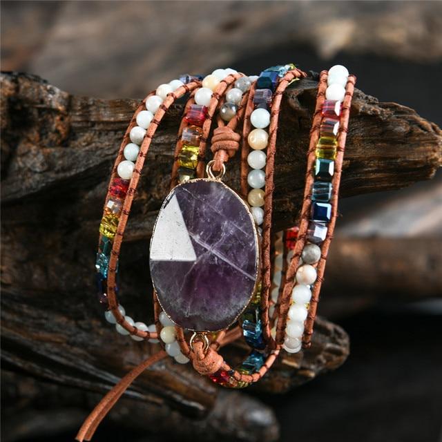 Newest unique chakra natural stones charm 5 strands wrap bracelets handmade boho bracelet women leather bracelet