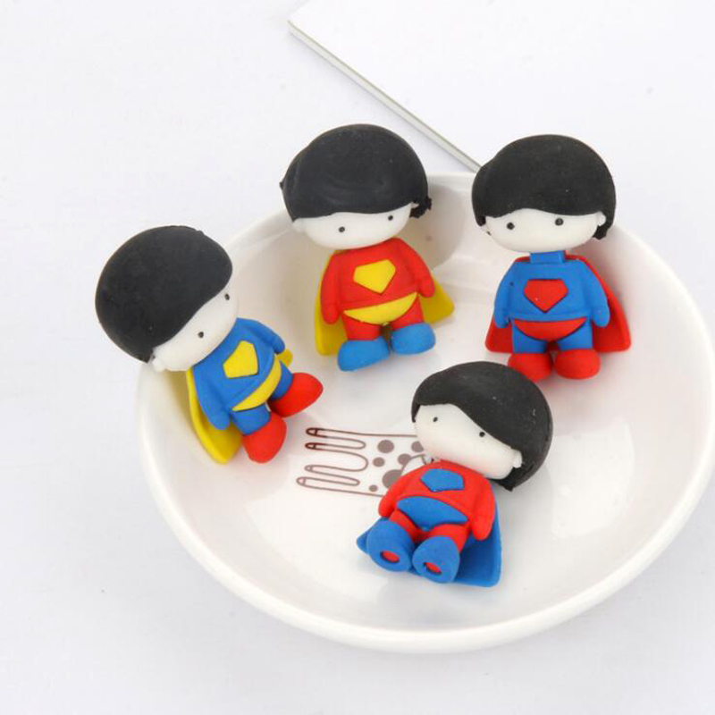 Novel Kawaii Superhero Superman Eraser Student Pencil Writing Correction Supplies Office School Stationery Eraser