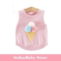 COOLELVE Winter Baby Girls Pullover Sweater Vest Coats Causal Kids Warm Cartoons Ice Cream Waistcoat Children