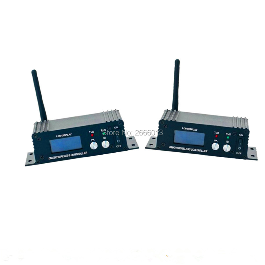 2pcs DMX512 Wireless Transmitter Receiver 2 in 1 2.4GHz XLR DMX DJ Repeater LED Stage Lighting Controller LCD Display dhl free shipping dmx512 wireless transmitter and receiver antenna socket for stage lighting