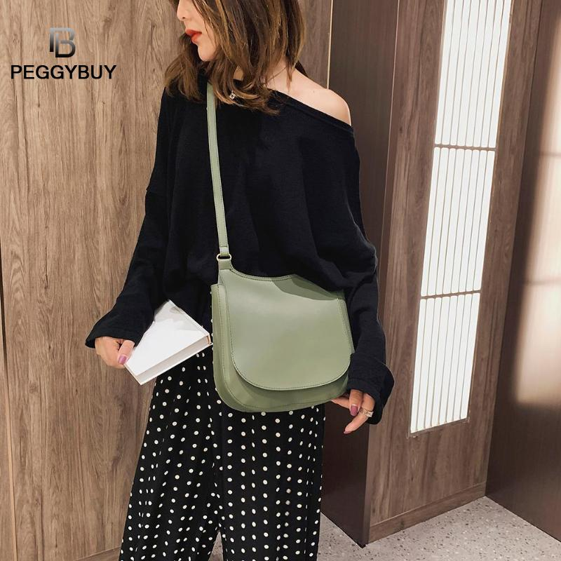 New 2019 Women Fashion Summer Retro Bag Solid Color Shoulder Handbags PU Leather Women Large Flap Crossbody Bags Handbag