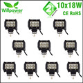10pcs 18W Free Shipping 18W Crees LED Light Bar Spot Flood 12 volt 4 Inch LED work light bar 4x4