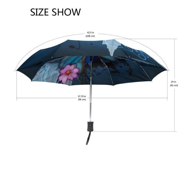 New Fashion Butterfly Over Flowers Print Women's Automatic Umbrella 3 Folding Rain Sun Protection Umbrella Male Portable Parasol 5