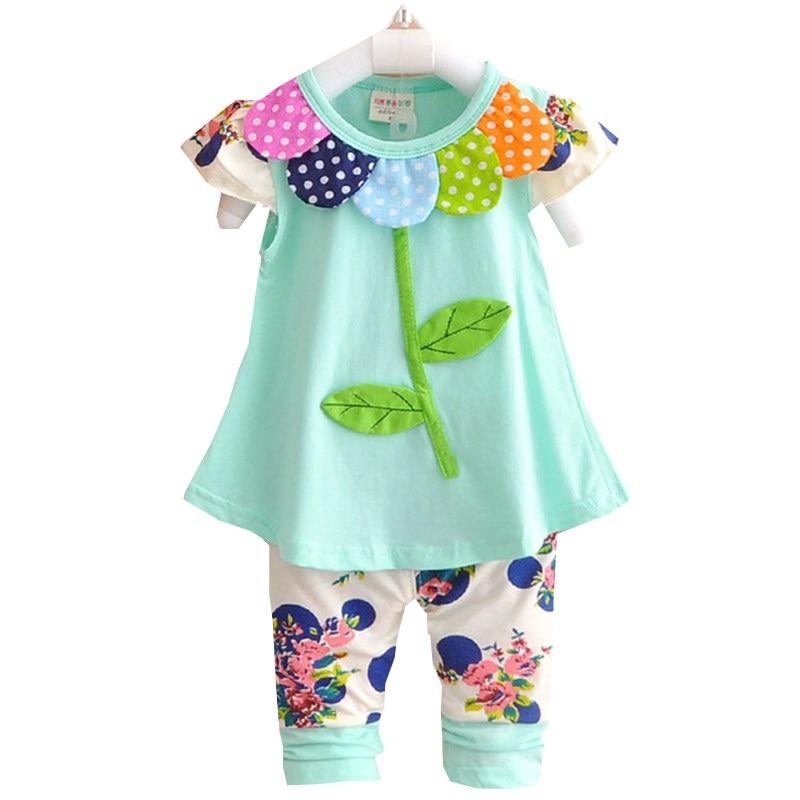 2016 סט בגדי תינוקות ילדים Bowknot קיץ פרחוני חולצות חולצות ומכנסיים חותלות 2 יחידות תלבושות ילדים חמודות בנות סט f15