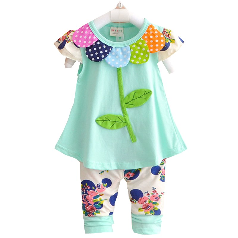 2016 kinder Baby Mädchen Kleidung Set Bowknot Sommer Floral T-shirts Tops und Hosen Leggings 2 stücke Nette Kinder Outfits Mädchen Set f15