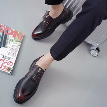 casual british style vintage thick soles platform shoes retro female harajuku lace up flat leather shoes college woven creepers 2018 Men New Shoes for Men Flat Shoes luxury Brand Leather Casual Driving Shoes Retro British style Lace Up Business Shoes