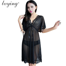 Sexy Lace Women Pyjamas Bud Silk Nightgown Transparents Gauze Night Dress Sleep Lingerie  Sleepwear Nightwear Nightshirt