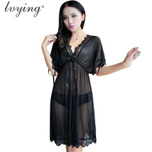 349fdb32a Sexy lace Mulheres Transparents gaze Broto de seda camisola pijama night  dress Sono vestido Lingerie Sleepwear