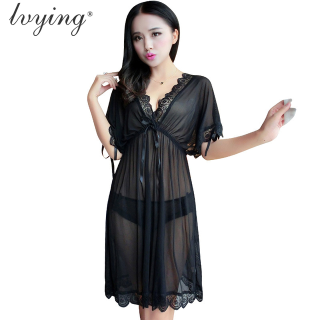 Sexy lace Women pyjamas Bud silk nightgown Transparents gauze night dress  Sleep dress Lingerie Sleepwear Nightwear Nightshirt 09e17953f
