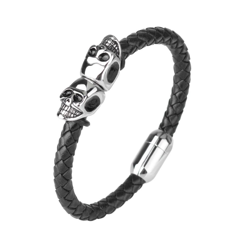 Kirykle mode Bracelet en cuir noir pour hommes bijoux Punk crâne en acier inoxydable perles Bracelet magnétique boucle breloque bijoux 2