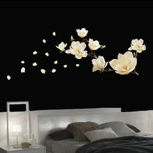 Removeable Waterproof Magnolia Flower DIY Art Mural Removable Wall Sticker Bed Home Decoration Decor