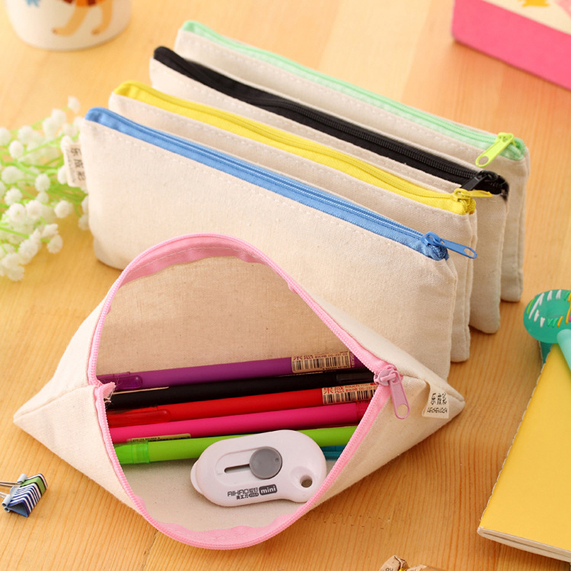 Blank Canvas Zipper Pencil Cases Pen Pouches Cotton Cosmetic Bags Makeup Bags Mobile Phone Clutch Bag Organizer