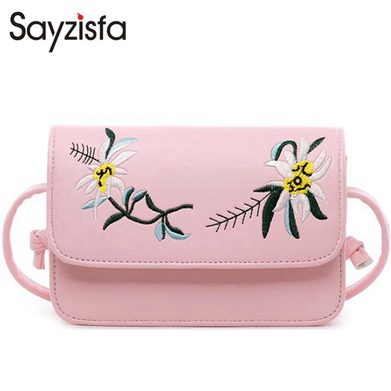 Sayzisfa 2017 New Women crossbody bag soft leather messenger bags Ladies Fashion small Embroider shoulder bags Female Bolsa T391 new fashion women girl student fresh patent leather messenger satchel crossbody shoulder bag handbag floral cover soft specail