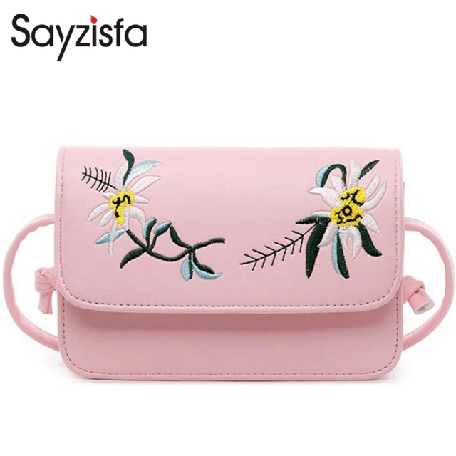 e354de92a7 Sayzisfa 2017 New Women crossbody bag soft leather messenger bags Ladies  Fashion small Embroider shoulder bags Female Bolsa T391