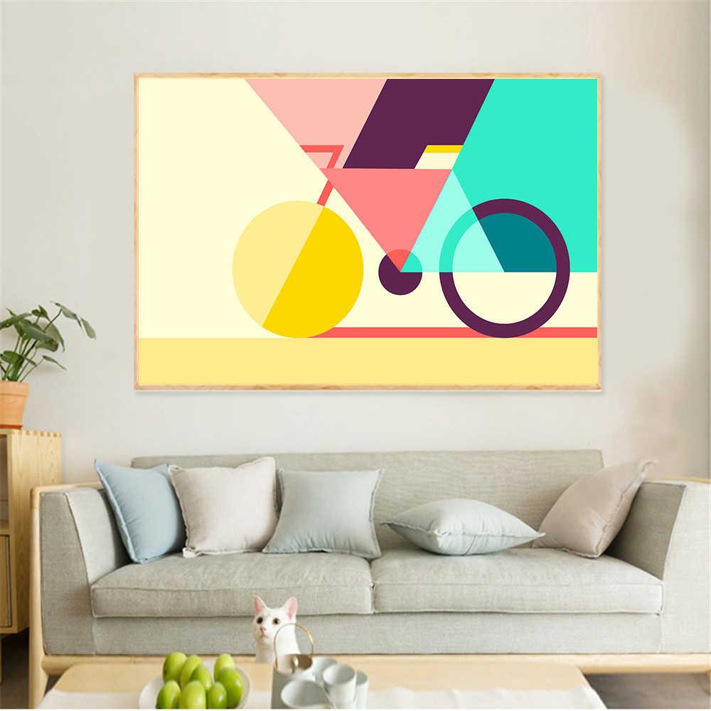 Настенные картины для гостиной холст с абстрактным искусством геометрические велосипедные плакаты и принты геометрические креативные скандинавские велосипедные куадросы