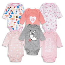 6pcs/lot Baby Bodysuits 100% Cotton Infant Body Long Sleeve Clothing Similar Jumpsuit Cartoon Printed Girl
