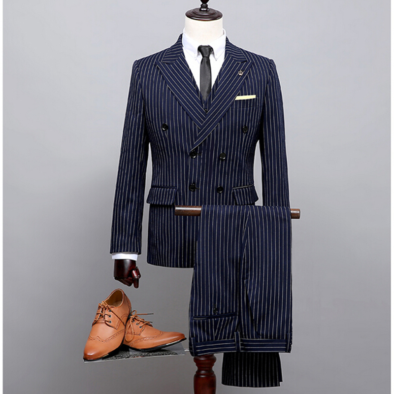 NA02 Custom Blue Double Breast White Stripe Suits Ropa Nina Man Coat Pant Images (Coat+Pants+Vest) Trajes De Novio 2018 Hombre