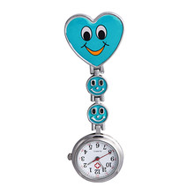 Important 2017 Scorching relogio masculino Girls's Smiling Face Coronary heart Clip-On Pendant Nurse Brooch Pocket Watch march13