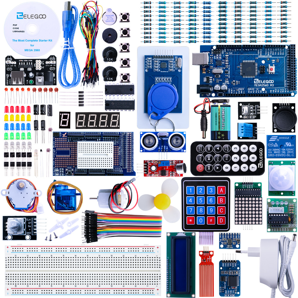 Elegoo Arduino Pro Mega 2560 R3 Project The Most Complete Ultimate Starter Kit w TUTORIAL for Arduino UNO Nano EL-KIT-008 adeept diy electric new project lcd1602 starter kit for arduino uno r3 mega 2560 pdf free shipping book headphones diy diykit