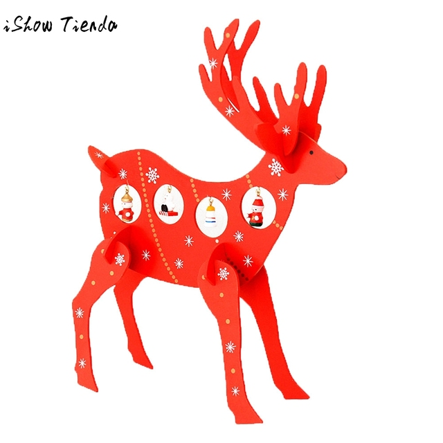 XMAS Gift 3D Wooden Assembling Christmas Deer Home Bedroom Decor Gifts DIY  Wooden Ornament Table Room