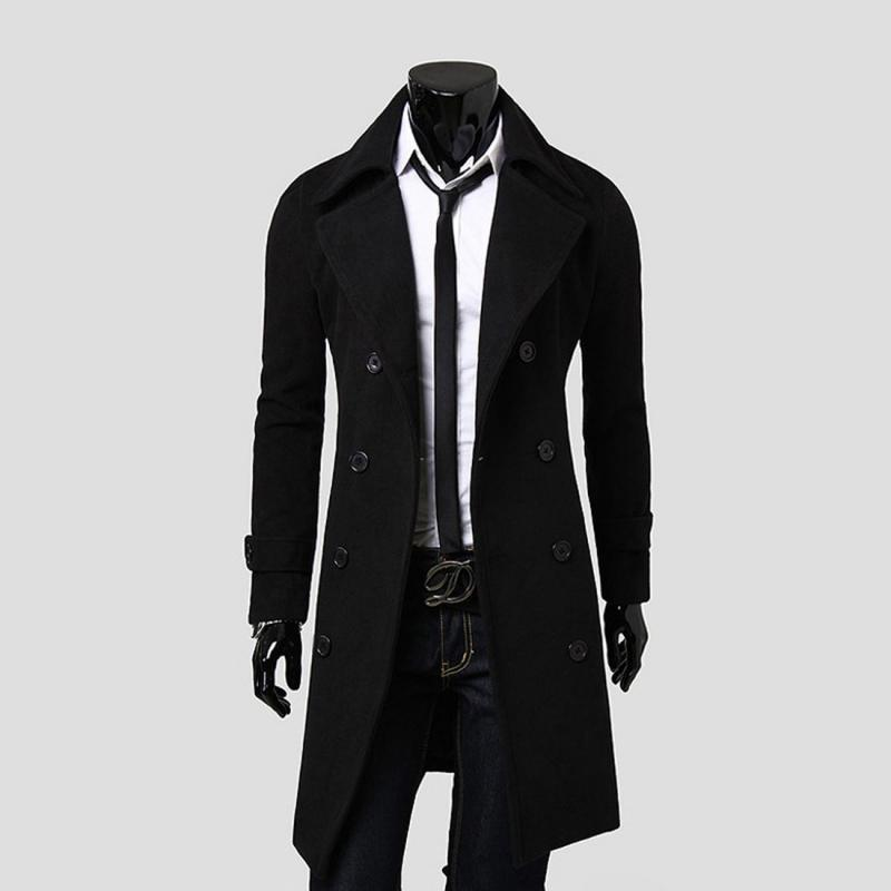 Fashion Men Trench Coat Double Breasted Coat Wool Long Slim Fit ...