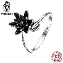 VOROCO Summer Collection Solid 925 Sterling Silver Lotus Flower Open Finger Ring for Women Fine Jewelry Gift VSR056