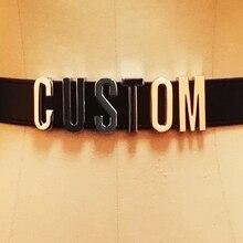 Ceinture en cuir avec lettres personnalisées à la main unisexe, pour hommes et femmes