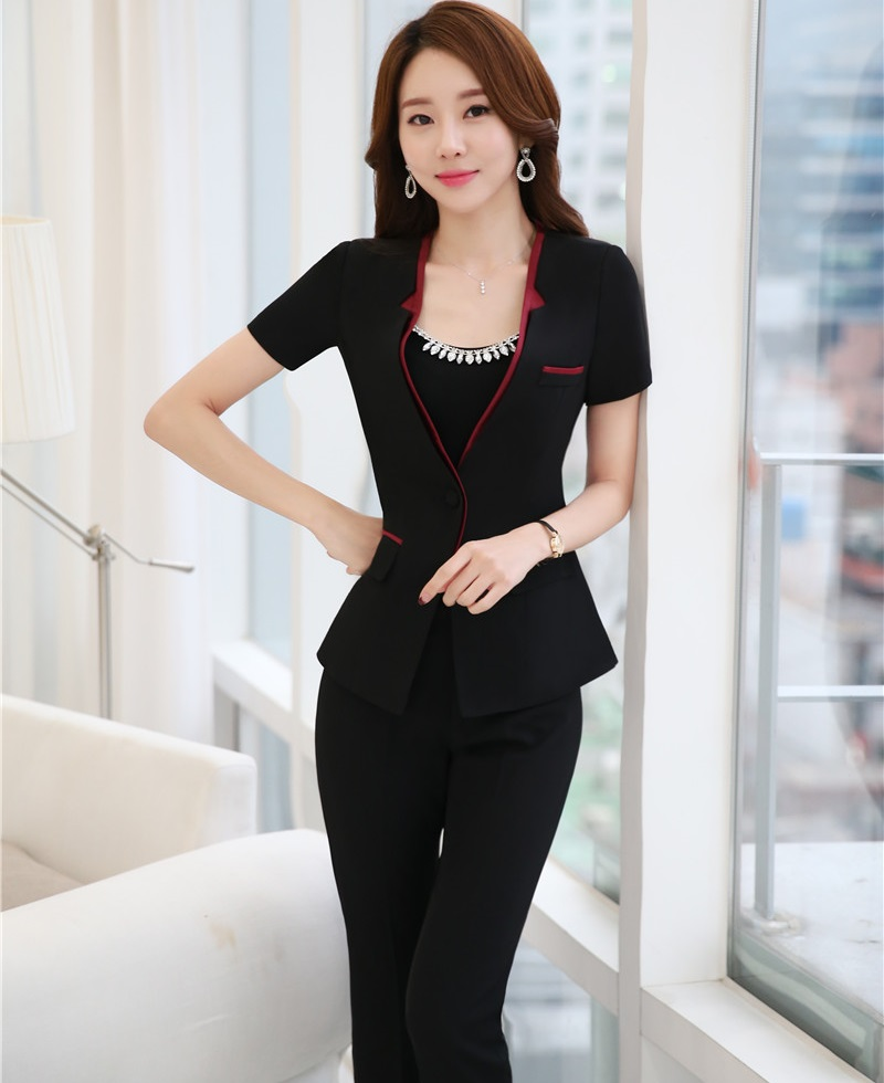 Novelty Black Professional Business Suits Jackets And Pants Ladies Office Work Wear Pantsuits Short Sleeve Summer Trousers Sets
