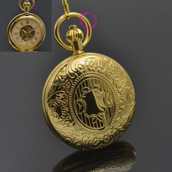 Men Mechanical Pocket Watch Roman Classic Fob Watches Shield Design Retro Vintage Gold Ipg Plating Copper Brass Case Good New