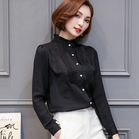 2017 Spring New Long Sleeved Chiffon Blouse Women S Clothing Coat Tide Loose Collar Women White