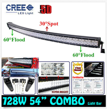 54″ 728W Cree Chips 5D Overlength Strip-type Curved External Car Lights Combo LED Work Light Bar Off-road Driving Lamp Truck SUV