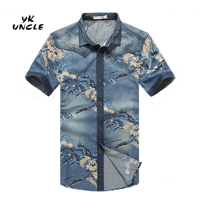 High Quality Denim and Flower Men Shirt-Buy Cheap Denim and Flower ...
