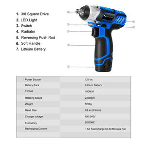 Image 2 - 12V Electric Wrench 100NM Torque 3/8 inch Cordless Wrench 2000mAh Rechargeable Li Battery Car Repair Power Tool by PROSTORMER