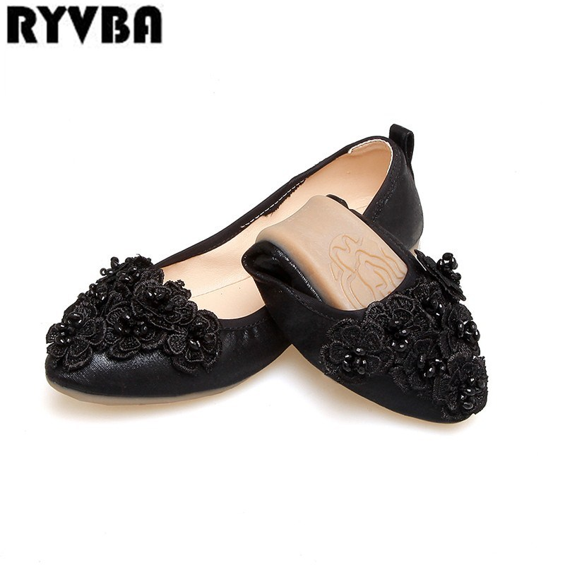 RYVBA 2018 new summer Women round toe flats flat shoes for woman womens fashion flower black causal shoes ladies Soft sole shoes
