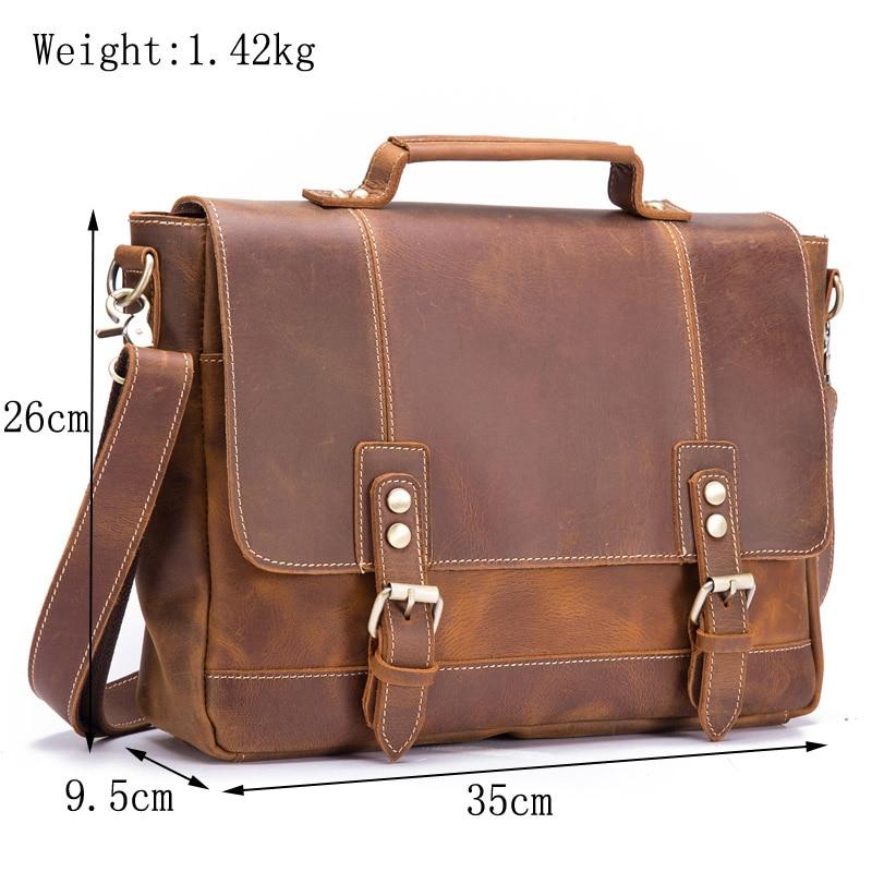 Мужской портфель из натуральной кожи из воловьей кожи в стиле ретро, мужская повседневная сумка мессенджер, сумки Bolsa, деловая сумка через плечо для мужчин - 2