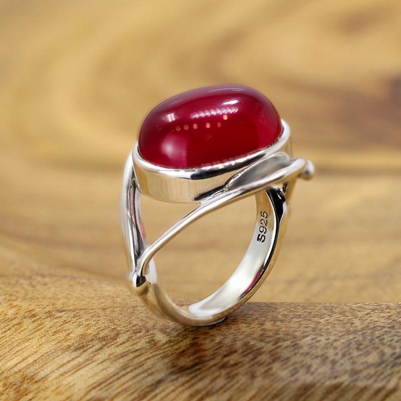 ᐂS925 gümüş takı moda saf el yapımı lady kırmızı korindon yüzük - a1