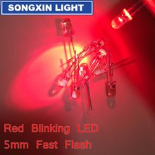 100pcs 5mm Red Light-Emitting-Diode Automatic Flashing LED Flash Control Blinking 5 mm Blink LED Diodo 1.5HZ danshan R(China)